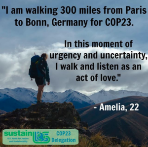 Amelia Diehl Begins 300-Mile Walking Journey to the United Nations COP23 Climate Talks