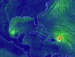 A computer-generated graphic of two hurricanes in the gulf coast