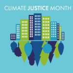 Climate Justice Month logo with colorful buildings and trees