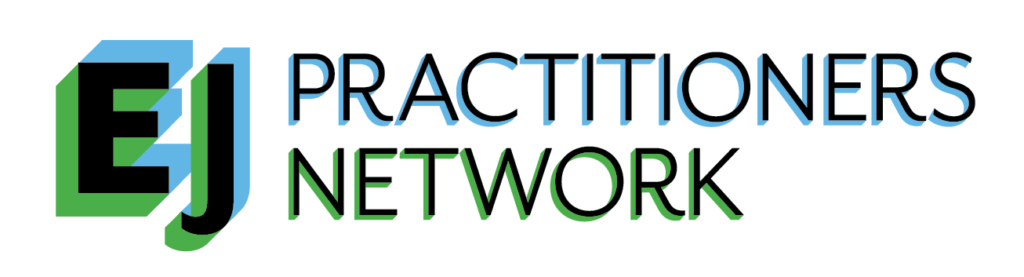 "Text ""EJ Pracitioners Network"" with blue and green shadowing"