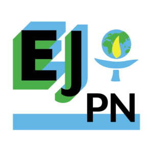 "Text ""EJPN"" with blue and green shadowing and the UUMFE logo (a chalice with an image of the Earth behind a yellow flame)"
