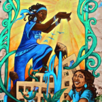 "A mural of two women of color: one holding up the sun and the other gardening, part of ""Uptown Girl Power,"" created by the Brooklyn-based Groundswell Community Mural Project"