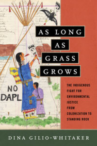 "Image of Book Cover via Beacon Press, depicting a drawing an Indigenous woman and small and child in front of a teepee with words ""No DAPL"" next to them"