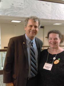 "Sen. Sherrod Brown, OH shares ""I like what the [UU] church stands for,"" with Doris Marlin."